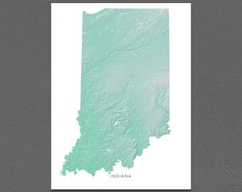 Indiana Map Print, Indiana State, Aqua, IN Landscape Art