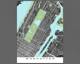 Manhattan Map Art, New York City Poster, Central Park Map, Times Square, Midtown