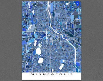 Minneapolis Map Print, Minneapolis Minnesota, City Art Maps Poster