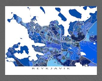 Reykjavik Map Print, Reykjavik Iceland Poster, Europe City Maps, Iceland Map