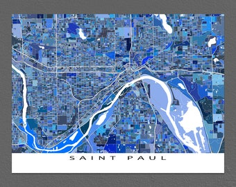 Saint Paul Map, St Paul Minnesota, USA City Maps, Blue