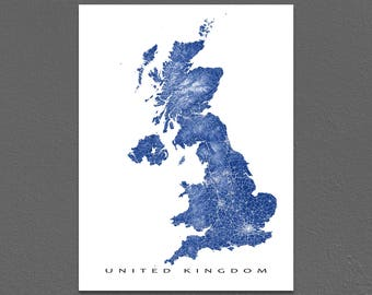 United Kingdom Map Print, UK Map Art, Northern Ireland, England, Scotland, Wales