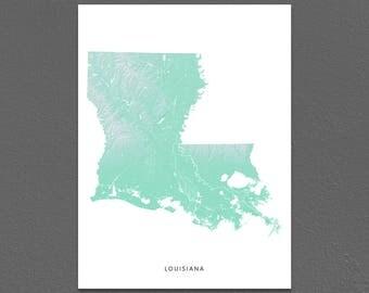 Louisiana Map Print, Louisiana State, Aqua, LA Landscape Art