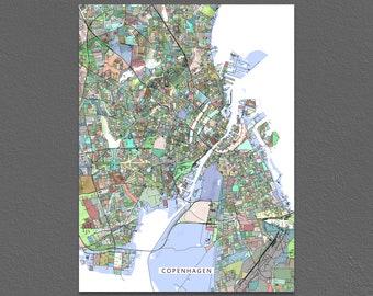 Copenhagen Poster, Copenhagen Map, Copenhagen Denmark, Art Print