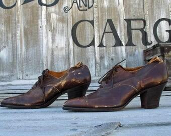 Vintage 1900s Edwardian Shoes / Antique Womens Edwardian Lace Up Shoes / Anitque 1900s Tie Shoes / Knotts Berry Farm Auction Shoe Lot