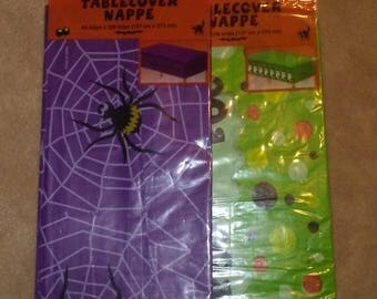 Lot of Two Plastic Halloween Table Covers (Ghost and Spider Designs)