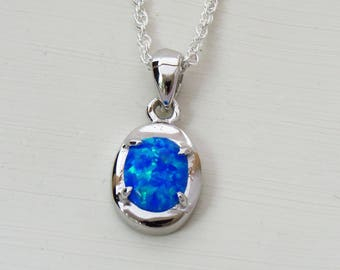 October Birthday Gift, Oval Blue Opal Necklace, 925 Opal Pendant with Chain, Sterling Silver Opal Jewelry, Gift for Women