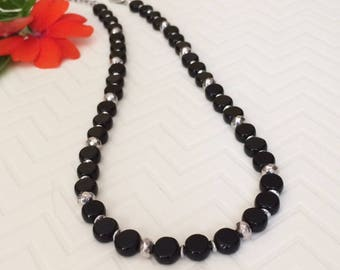 Beaded Black Silver Necklace Black Silver Bead Necklace Short Black Necklace Beaded Short Necklace Sophisticated Dressy Black Necklace Chic