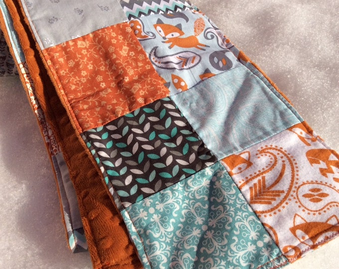 """Patchwork Scarf  """"What Does The Fox Say"""" -Womens Scarf, Fleece,Upcycle,Made in Maine,Warm,Winter,Topaz,Gray,Orange,Patchwork,Scarves"""