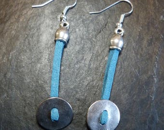 Button, silver and blue earrings