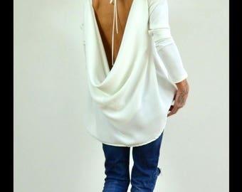 ON SALE Oversize Loose tunic /White maxi tunic / Open back blouse /Loose oversize top