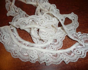 2 1/2 Yards White Floral With Pale Pink Gathered Lace