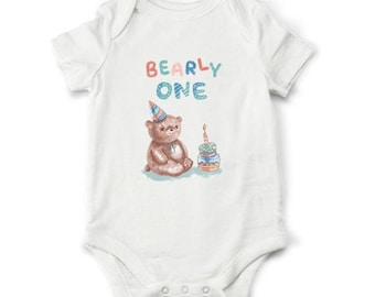 10% OFF SALE First birthday boy outfit - Bearly one, baby boy birthday bodysuit, Boy first birthday gift, 1st birthday bodysuit