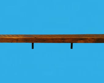 "48"" by 5-1/2"" by 2"" barn wood beam shelf with steel L shaped brackets -659"