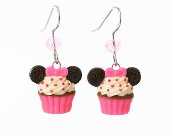 Handmade Oreo Mickey Mouse Neon Pink Cupcake Earrings, Cupcake Earrings, Mickey Mouse Earrings