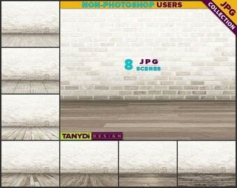 Empty Room ER-C3 | 8 JPG Interior Scene | Blank Creamy Brick Wall | Wood Floor | Product Display Scene Creator