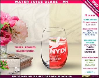 Glass Water Juice M-1 | Empty, Yellow & Red Juice | Photoshop Print Mockup | Peonies Tulips Background | Smart object Custom colors
