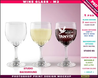 Wine Glass M-2 | Empty, White & Red Wine | Photoshop Print Mockup | Front view Glass on Studio Background | Smart object Custom colors