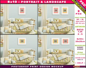 Nursery Interior Photoshop Print Mockup 810-N7 | Portrait & Landscape Set of 2 White Frames | White crib | Smart object Custom colors