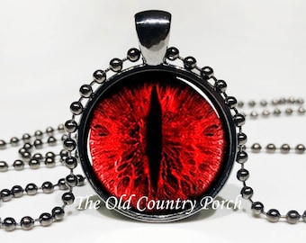 Red Dragon Eye-Glass Pendant Necklace/Gift for him/fantasy art gift/Mystic dragon