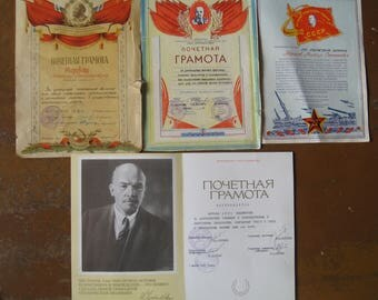 Lot of 3 Certificate of Honor Vintage Document 1956,65,85 Soviet Union USSR