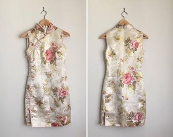 Vintage Asian Mini Dress White & Pink Satin Floral Brocade Dress Party Dress