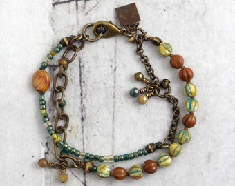 Rustic bracelet, Jasper jewelry for cowgirls, Earthy gift for boho sister, Unique present for friend, Hand knotted Czech glass