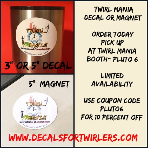 Twirl Mania decal, magnet or tumbler
