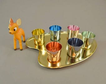 Vintage aluminum shooters shot glasses shooters candy colors on a painter's palette, EMKA | 60er