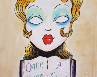Dolly-Rae once upon a time vintage style oil paint and pastels canvas art!