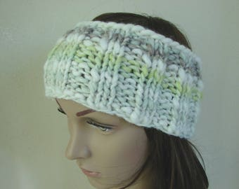Ear warmer soft green white gray adult warm comfortable winter chunky head band knit in round head band woman chunky ear warmer soft colors