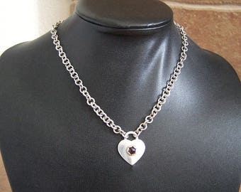 "Sterling Silver Heart and Garnet Chain Choker ""Little Cream Soda"" - Free US Shipping!"
