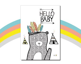 Hello Baby Card by Katie Cheetham