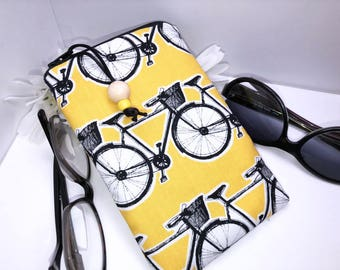 Bicycle Double Glasses Case, Double Pocket Glasses Case, Zipper Glasses Case, Zip Top Double Glasses Pouch Sunglasses Pouch