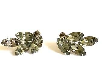 Rhinestone Clip On Earrings, Grey Green Marquise Rhinestone, Silver Tone, Vintage 1950s, Weiss? Rhinestone Jewelry