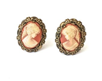 Cameo Clip On Earrings, West Germany, Filigree, Faux Cameo Earrings, Gold Tone, Prong Set, Lucite, 1950's, Cameo Jewelry