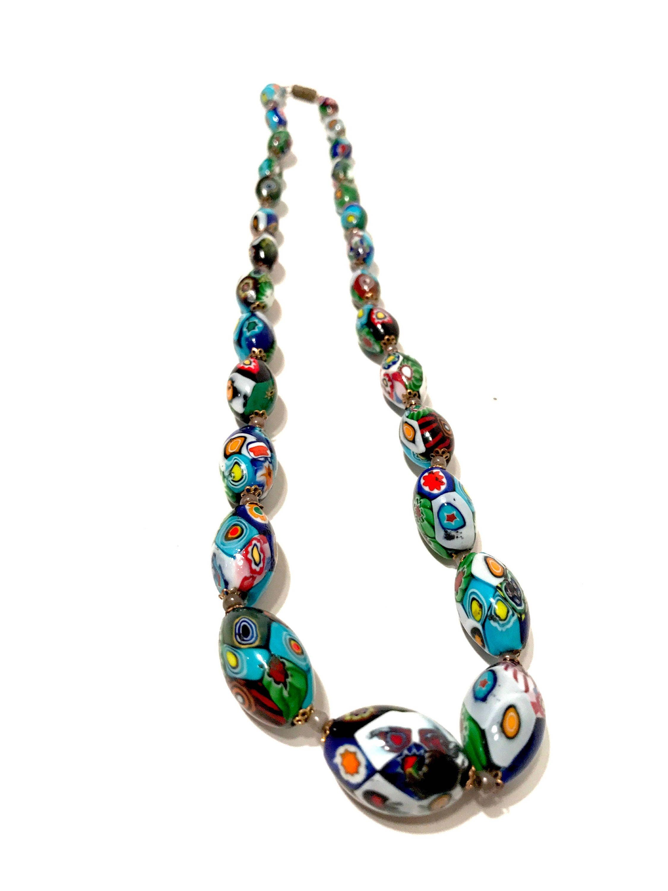 strand blueartglass single art inch necklace pin glass vintage beads blue