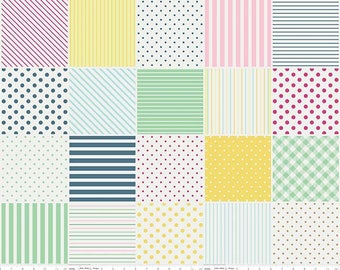 1 Yard Little Dolly by Elea Lutz for Penny Rose Fabrics 6361 Yellow Blocks