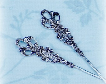 Victorian Hair Stick Fork 2 Pair Of Matching Vintage Style Pearl Bridal Pin Pick Comb Hair Barrette Stick Pin