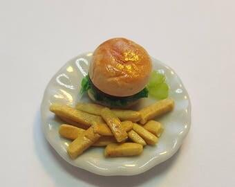 1:6 scale Hamburger & fries barbie blythe Bjd phicen playscale