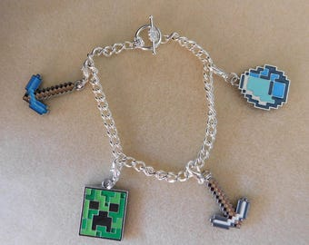 Minecraft jewelry etsy minecraft bracelet silver plated 7 inches aloadofball Gallery