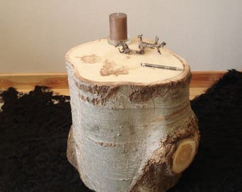 Tree trunk as a side table wood column