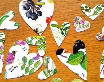 Floral Heart Table Confetti -  Large Flower / Floral Book Table  Confetti - Heart Shaped Wedding Table Decor
