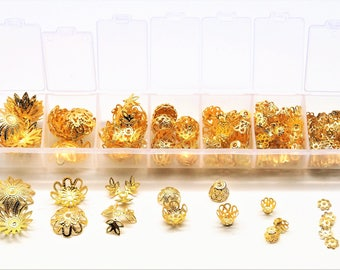 Box of 300 cups, golden flower caps 7 models from 6 to 16 mm