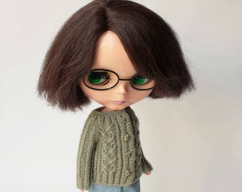 Blythe doll dress, Wool doll clothes, Blythe cardigan, Doll cable cardigan, Outfit for big eyes doll, Sage color sweater, Blythe knit cloth
