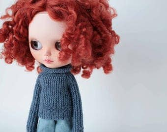 Blythe navy blue sweater, Doll sweater with long sleeve, Knitted denim blue sweater, Blythe doll outfit, Luxury Blythe clothes, Wool jumper