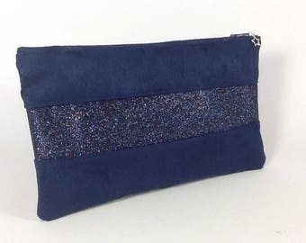Flat clutch in Blue Suede Navy with Navy blue glitter