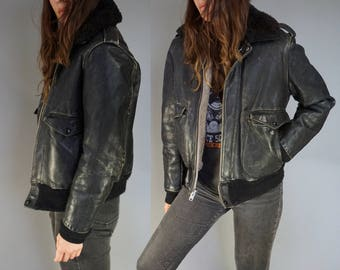 Vtg 60s 70s Leather Flight Jacket Aviator Bomber Jacket by SCHOTT || Sherpa Shearling Collar Black Leather Bomber || 36 Small Medium