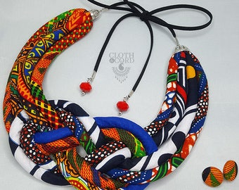 Multicolored African Jewelry  - African colar - African Necklace - Fabric Necklace - Textile Necklace