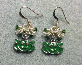 Green enamel frog prince charm earrings adorned with tiny dangling green and clear Chinese crystal beads.